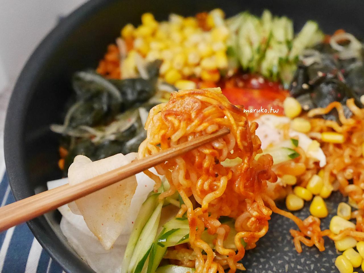 【食譜】韓式拌麵 無湯粉包泡麵做法 用拌飯醬乾拌就好吃 不倒翁Q拉麵(純麵條) @Maruko與美食有個約會