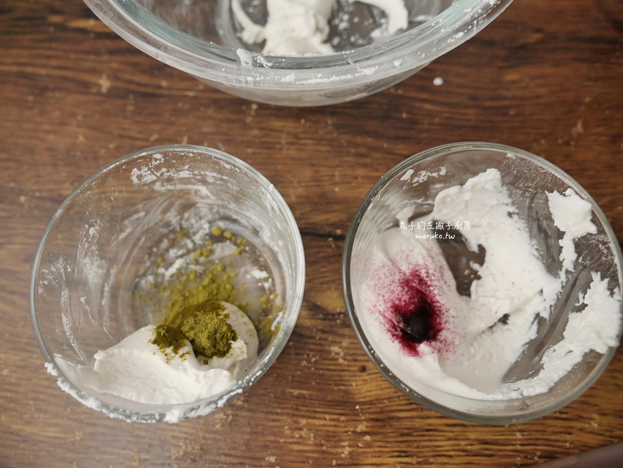 【食譜】三色糰子 花見糰子 月見糰子 只要二種粉混合均勻 日本祭典路邊攤小吃 @Maruko與美食有個約會