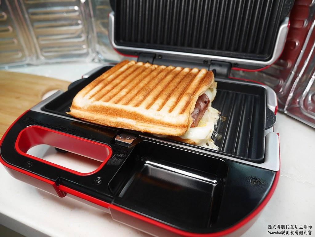 【鬆餅機食譜】德式香腸帕里尼三明治|運用帕里尼烤盤製作簡單早午餐 @Maruko與美食有個約會